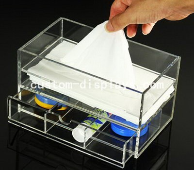 Acrylic tissue box with drawer CAB-008