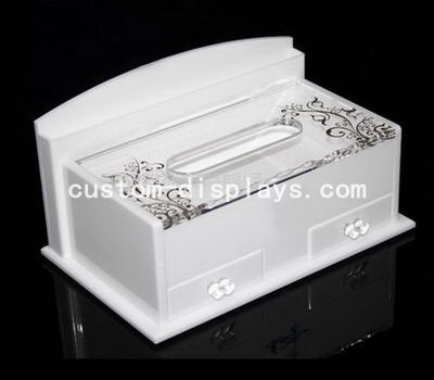 White plastic tissue box CAB-009