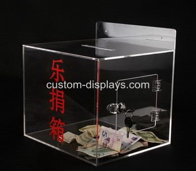 Clear donation box with lock CAB-018