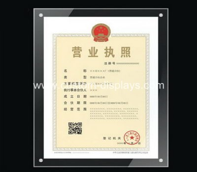 Acrylic certificate frame