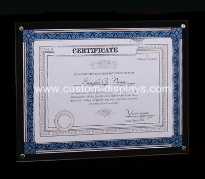 Clear certificate frames