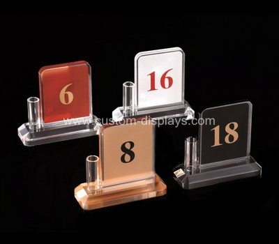 Acrylic table number with pen holder