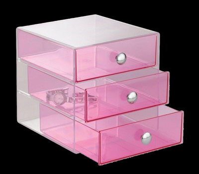Clear pink acrylic drawer box