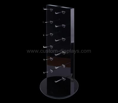 Black acrylic pegboard display stand