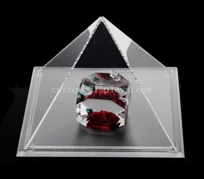 Clear acrylic pyramid shape display case