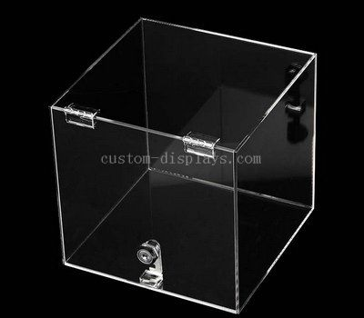 Lockable acrylic box with hinged lid