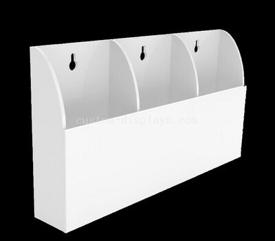 White acrylic brochure holder for wall