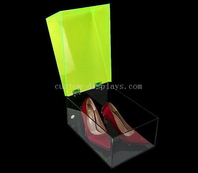 Acrylic shoe box with hinged lid