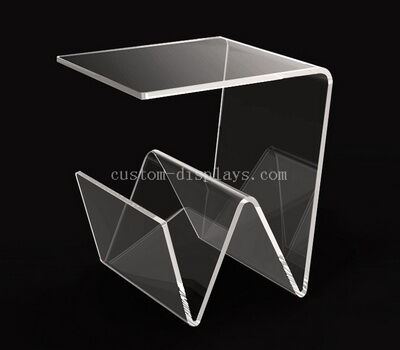 Acrylic Side Table With Magazine Holder