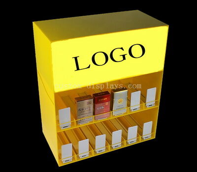 Custom acrylic cigarette display shelf case lucite cabinets with booster