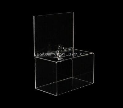 Custom clear acrylic donation box with lock
